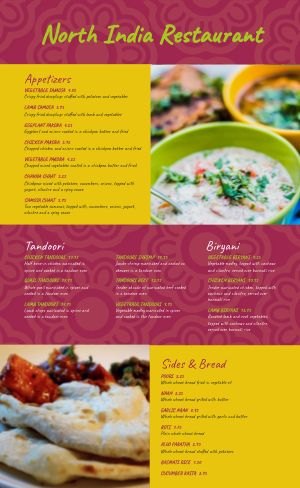 Indian Menu Example