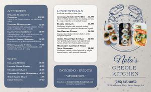 Creole Seafood Takeout Menu