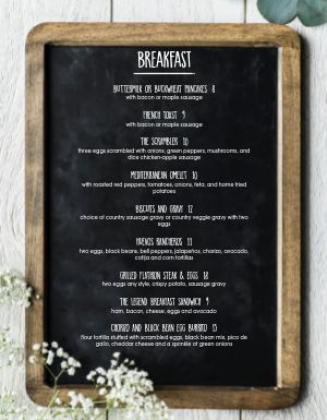 Blackboard Breakfast Menu