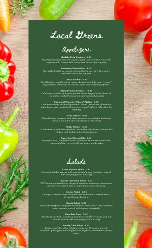 Vegetable Vegan Menu