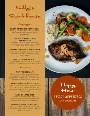 American Steak Menu