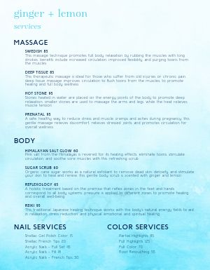Relaxing Retreat Spa Menu