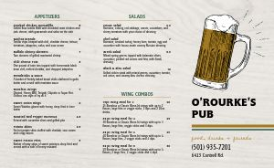Simple Pub Takeout Menu Sample