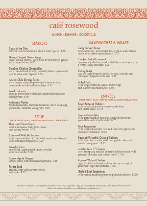 Casual Restaurant A4 Menu