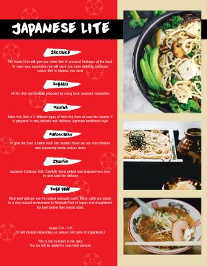 Fresh Japanese Menu