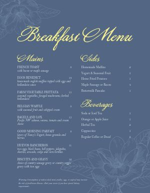 Elegant Breakfast Menu