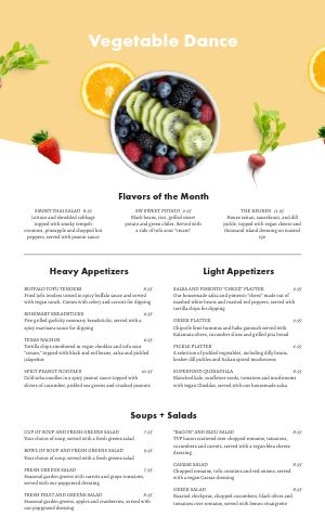Vegan Fruit Menu
