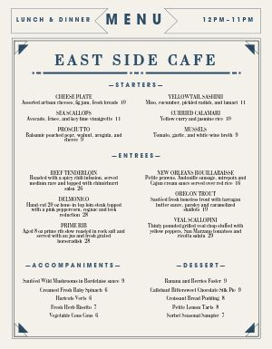 Fine Dining Cafe Menu