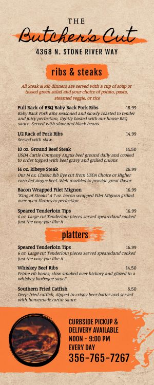 Steakhouse Lite Takeout Menu