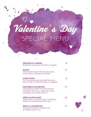 Valentines Day Specials Menu