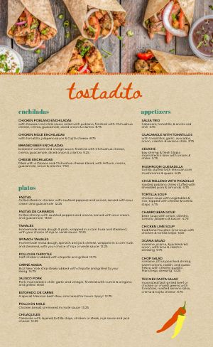 Mexican Tortilla Menu