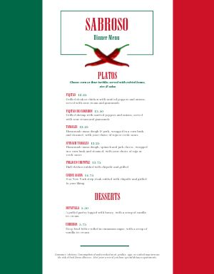 Mexican Flag Menu