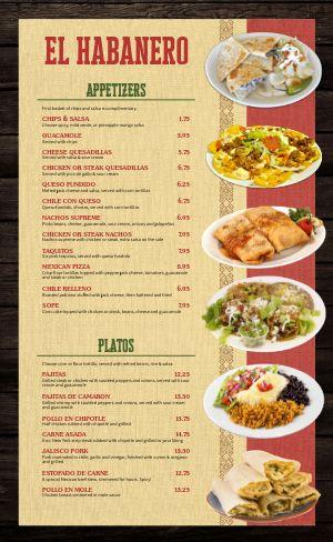 Plates Mexican Menu