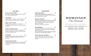 Country Club Restaurant Takeout Menu
