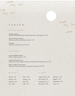 Tranquil Japanese Menu
