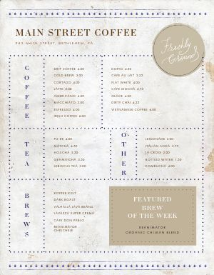Fresh Grounds Coffee Menu