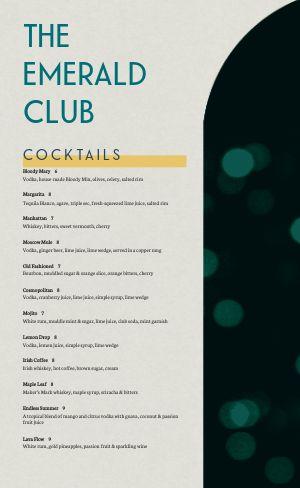 Night Club Menu