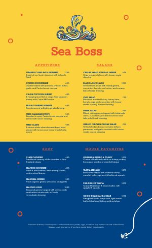 Seafood Fish Menu
