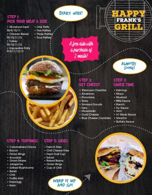 Carryout Burger Menu