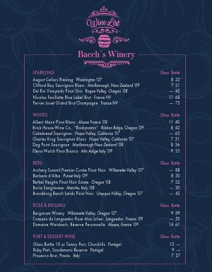 Vineyard Wine Menu