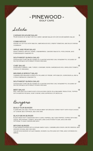 Country Club Golf Menu