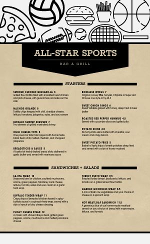 Sample Sports Bar Menu