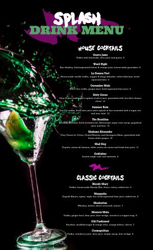 Cocktails Night Club Menu