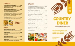 Country Style Restaurant Takeout Menu