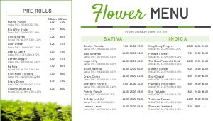 Dispensary Digital Menu Board Example