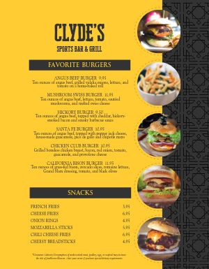 Sports Bar Burger Menu