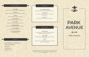 Charming Fine Dining Folded Menu