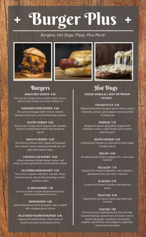Sample Burger Menu