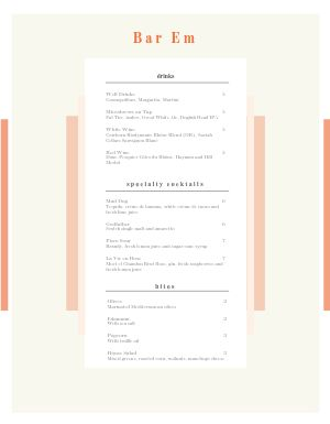 Contemporary Bar Menu
