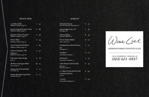 Folded Wine List Menu Example