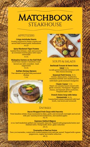 Sample Steakhouse Menu