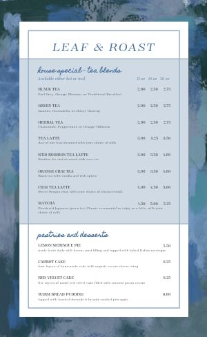 Easy Design Cafe Menu