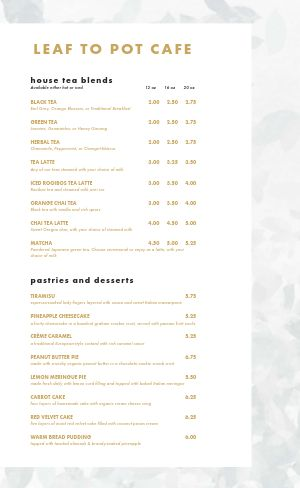 Customizable Cafe Menu