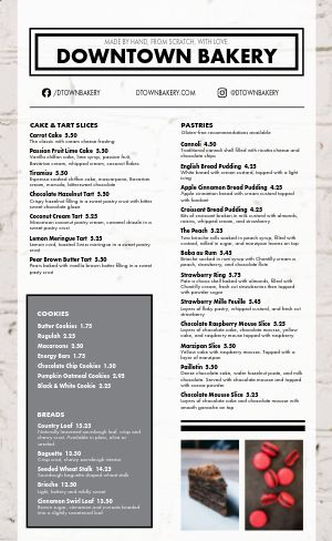 Bakery Menu Example