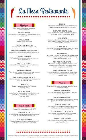 Mexican Fresca Menu