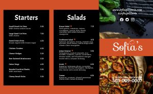 Sample Pizza Takeout Menu