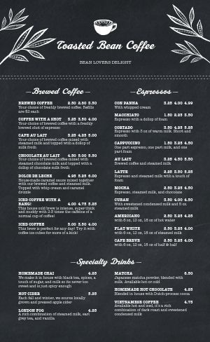 Streamlined Coffee Menu