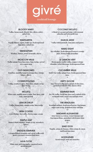 Example Night Club Menu