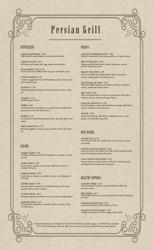 Middle Eastern Food Menu