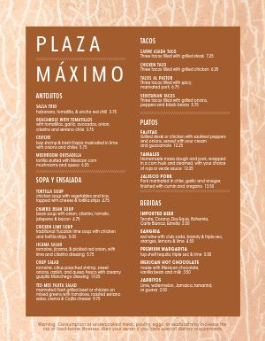 Mexican Eats Menu