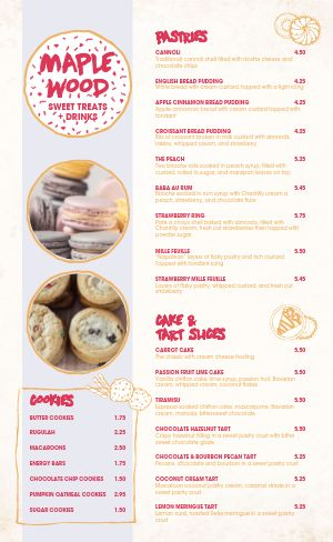 Casual Bakery Menu