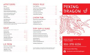 Chinese Dragon Takeout Menu Example