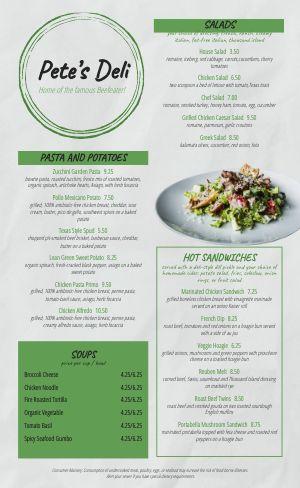 Salad Deli Menu