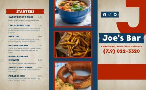 Casual American Sports Bar Takeout Menu