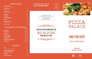 Orange Pizza Menu Mailer