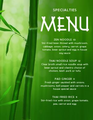 Specialty Thai Menu